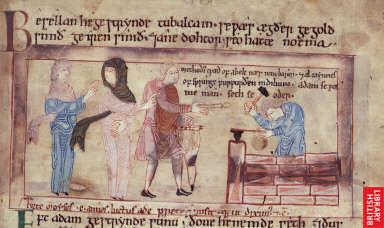 Lamech, as suas duas mulheres e Tubalcain, trabalhando metal