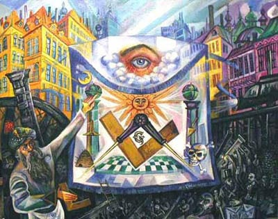 Masonic Oil Painting